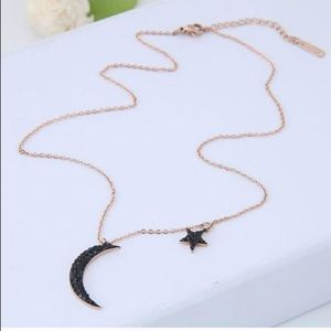 Jewelry - BLACK STAR AND MOON STAINLESS STEEL NECKLACE